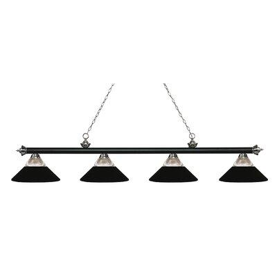 Riviera 4-Light Billiard Light Finish: Clear Ribbed / Matte Black, Shade Color: Clear Ribbed  /  Matte Black