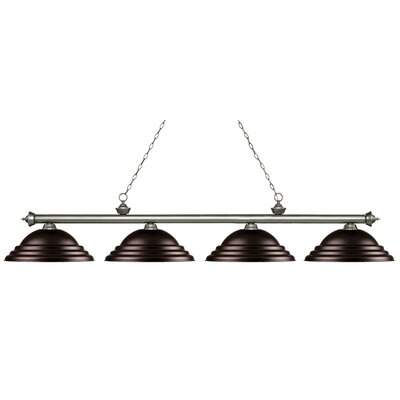 Zephyr 4-Light Metal Shade Billiard Light Finish: Antique Silver, Shade Color: Bronze