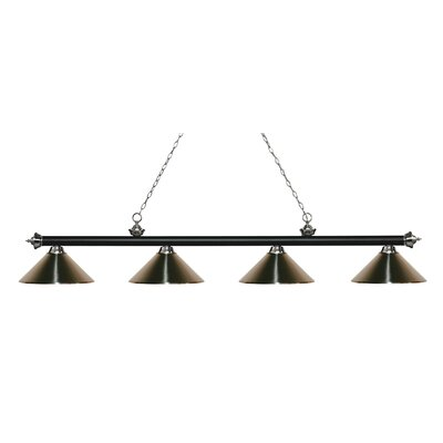 Zephyr 4-Light Cone Metal Shade Billiard Light Finish: Matte Black / Brushed Nickel, Shade Color: Brushed Nickel