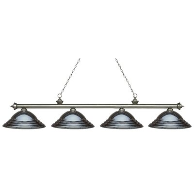 Zephyr 4-Light Metal Shade Billiard Light Finish: Antique Silver, Shade Color: Gun Metal