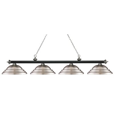 Zephyr 4-Light Metal Shade Billiard Light Finish: Matte Black / Brushed Nickel, Shade Color: Brushed Nickel