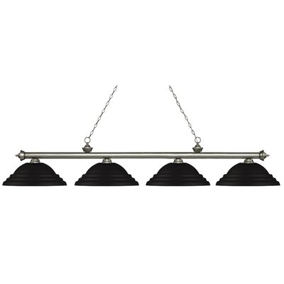 Zephyr 4-Light Metal Shade Billiard Light Shade Color: Matte Black, Finish: Antique Silver
