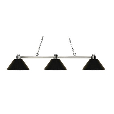 Centeno 3-Light Kitchen Island Pendant Finish: Park Brushed, Shade Color: Black