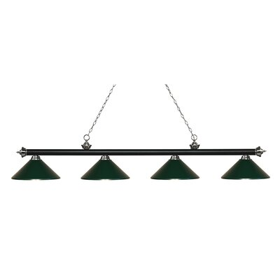 Zephyr 4-Light Cone Metal Shade Billiard Light Shade Color: Dark Green, Finish: Matte Black / Brushed Nickel