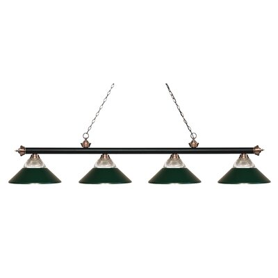 Riviera 4-Light Billiard Light Finish: Matte Black / Antique Copper, Shade Color: Dark Green