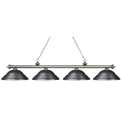 Zephyr 4-Light Metal Shade Billiard Light Finish: Antique Silver, Shade Color: Olde Bronze