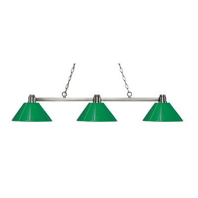 Park 3-Light Billiard Light Shade Color: Green, Finish: Park Brushed