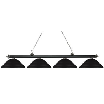 Zephyr 4-Light Metal Shade Billiard Light Finish: Matte Black / Brushed Nickel, Shade Color: Matte Black