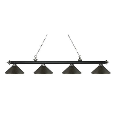 Zephyr 4-Light Cone Metal Shade Billiard Light Finish: Matte Black / Brushed Nickel, Shade Color: Golden Bronze