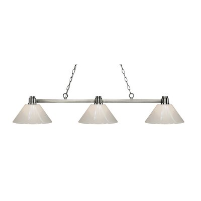 Park 3-Light Billiard Light Shade Color: White, Finish: Park Brushed