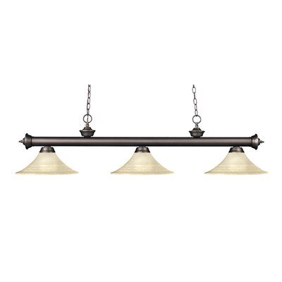 Zephyr 3-Light Bell Glass Billiard Light Finish: Olde Bronze, Shade Color: Golden Mottle