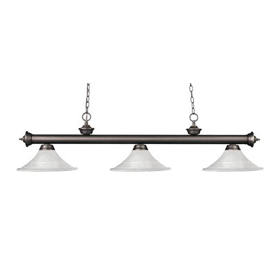 Zephyr 3-Light Bell Glass Billiard Light Finish: Olde Bronze, Shade Color: White Mottle