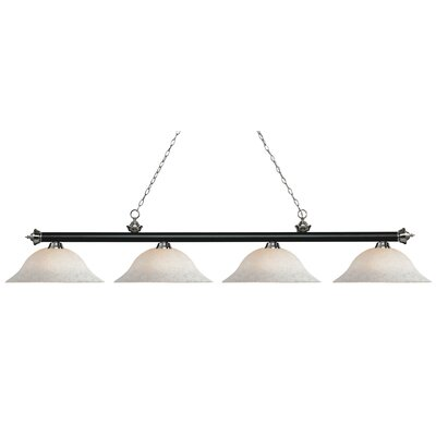 Riviera 4-Light Billiard Light Shade Color: White Mottle, Size: 12.5 H x 82.5 W x 16 D, Finish: Matte Black / Brushed Nickel
