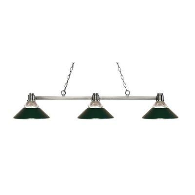 Park 3-Light Billiard Light Shade Color: Clear / Dark Green, Finish: Brushed Nickel