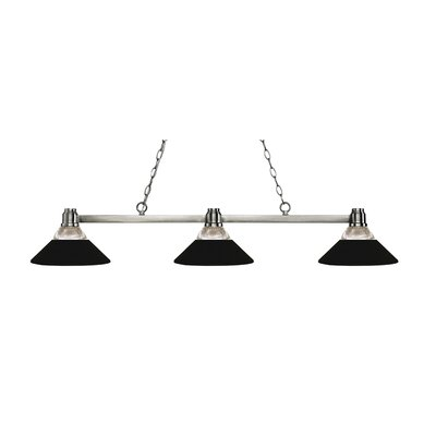 Park 3-Light Billiard Light Finish: Brushed Nickel, Shade Color: Clear / Matte Black