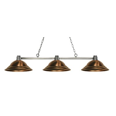 Centeno 3-Light Kitchen Island Pendant Finish: Brushed Nickel, Shade Color: Stepped Antique Copper