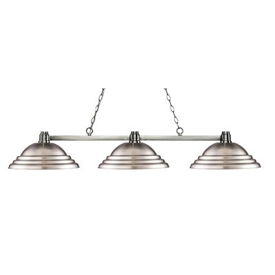 Park 3-Light Kitchen Island Pendant Shade Color: Stepped Brushed Nickel, Finish: Brushed Nickel