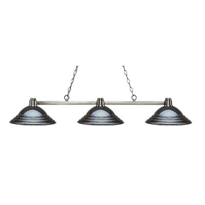 Park 3-Light Kitchen Island Pendant Shade Color: Stepped Gun, Finish: Brushed Nickel