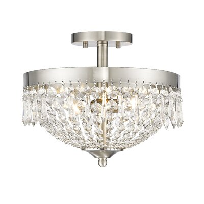 Danza 3-Light Semi Flush Mount Finish: Brushed Nickel