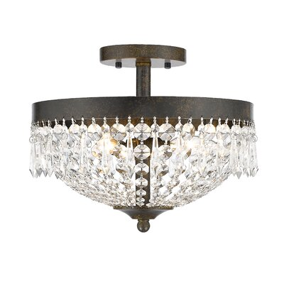 Danza 3-Light Semi Flush Mount Finish: Golden Bronze
