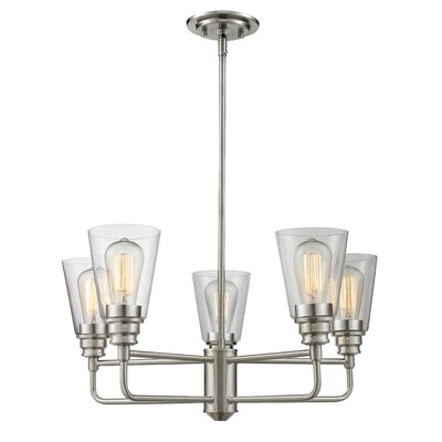 Clayton 5-Light Semi Flush Mount Finish: Brushed Nickel