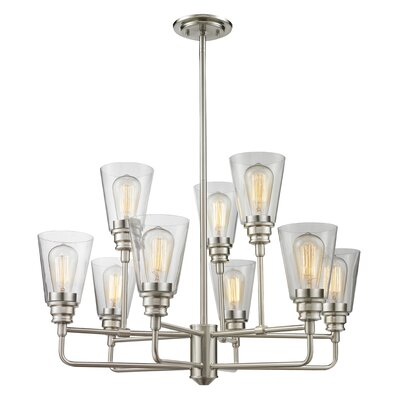 Clayton 9-Light Semi Flush Mount Finish: Brushed Nickel