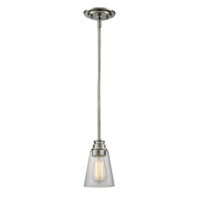Clayton 1-Light Glass Mini Pendant Finish: Brushed Nickel