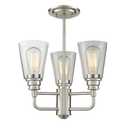 Clayton 3-Light Shaded Chandelier Finish: Brushed Nickel