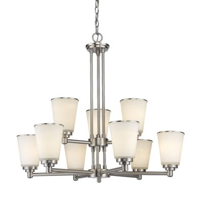 Hwang 9-Light Shaded Chandelier Finish: Brushed Nickel