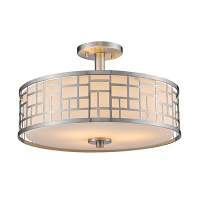 Hummer 3-Light Semi Flush Mount Size: 10.25 H x 16.25 W x 16.25 D
