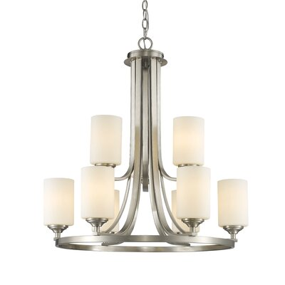 Beegle 9-Light Shaded Chandelier Finish: Brushed Nickel