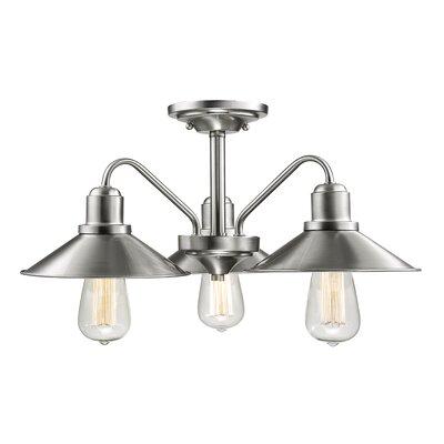Cromartie 3-Light Semi Flush Mount Finish: Brushed Nickel