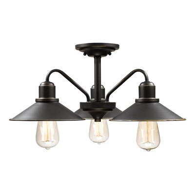 Cromartie 3-Light Semi Flush Mount Color: Olde Bronze