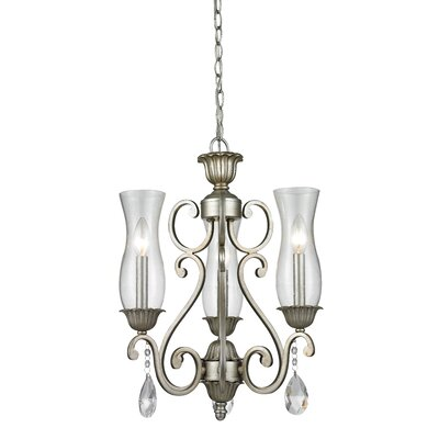 Melina 3-Light Candle-Style Chandelier Finish: Antique Silver