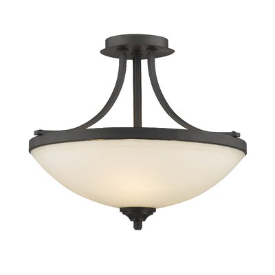 Beegle 3-Light Semi Flush Mount Finish: Bronze