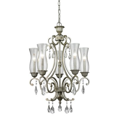 Melina 5-Light Candle-Style Chandelier Finish: Antique Silver