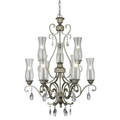 Melina 9-Light Candle-Style Chandelier Finish: Antique Silver