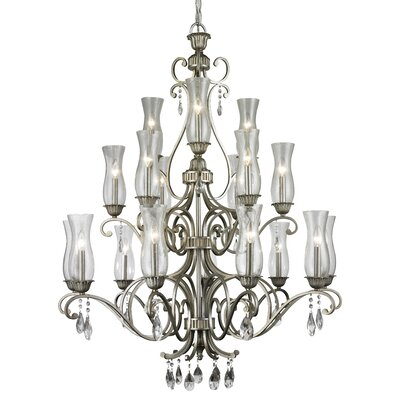 Melina 18-Light Candle-Style Chandelier Finish: Antique Silver
