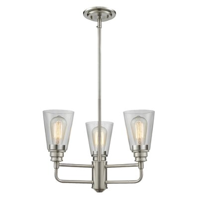 Clayton 3-Light Glass Semi Flush Mount Finish: Brushed Nickel