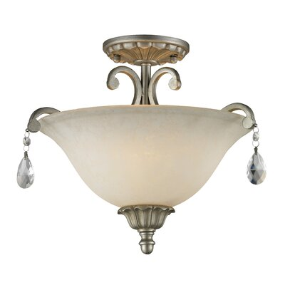 Melina 3-Light Semi Flush Mount Finish: Antique Silver
