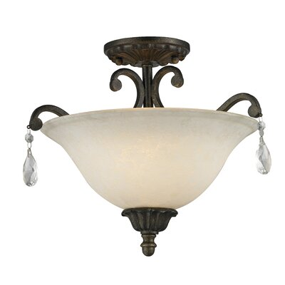 Guernsey 3-Light Semi Flush Mount Finish: Golden Bronze