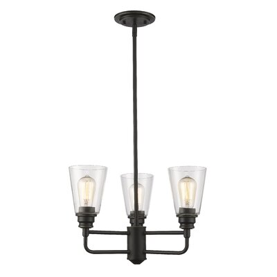 Clayton 3-Light Glass Semi Flush Mount Finish: Olde Bronze