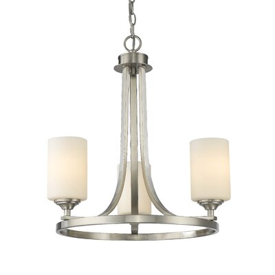 Bordeaux 3-Light Shaded Chandelier Finish: Brushed Nickel