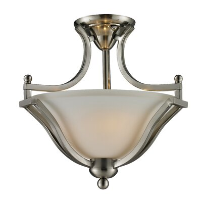 Weyer 2-Light Semi-Flush Mount Finish: Brushed Nickel