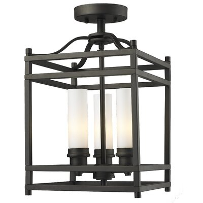 Humiston 3-Light Semi-Flush Mount Shade Color: Bronze