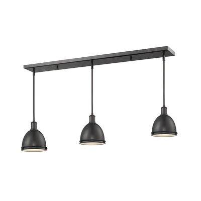 Marquise 3-Light Kitchen Island Pendant Finish: Bronze, Size: 9.75 H x 50 W x 8 D