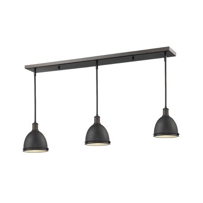 Marquise 3-Light Kitchen Island Pendant Finish: Olde Bronze, Size: 9.75 H x 50 W x 8 D
