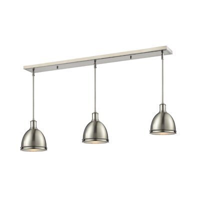 Marquise 3-Light Kitchen Island Pendant Finish: Brushed Nickel, Size: 9.75 H x 50 W x 8 D