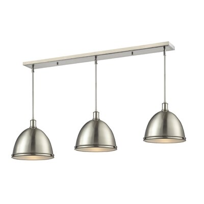 Marquise 3-Light Kitchen Island Pendant Finish: Brushed Nickel, Size: 13 H x 55 W x 13 D