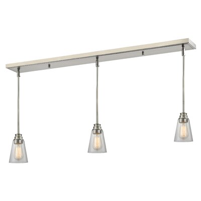 Clayton 3-Light Glass Kitchen Island Pendant Finish: Brushed Nickel